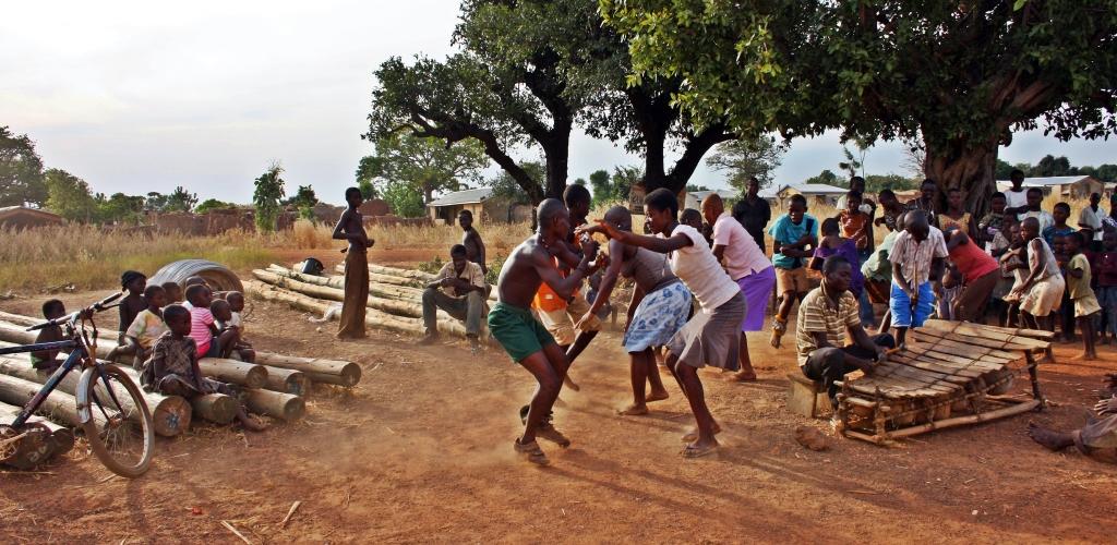 Dondemeteng dance group rehearsing. Nandom, Ghana, 2011.