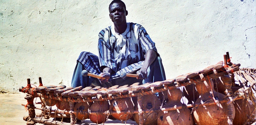 Wienome Rallio playing the gyil. Nandom, Ghana 2006.